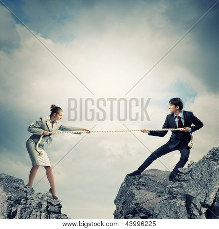 Confrontation between two business people. Abstract collage .