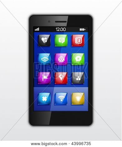 Mobile phone applications vector concept