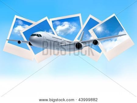 Travel background with airplane in front of photos of blue sky. Raster version of vector