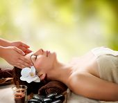 Spa Massage. Facial Massage outdoor. Nature. Beauty Treatments