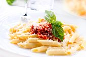 stock photo of basil leaves  - Pasta - JPG