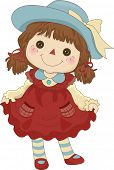 picture of girl toy  - Illustration of a Toy Rag Doll standing on its feet - JPG