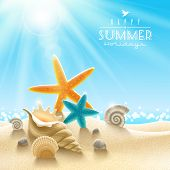 Summer holidays illustration - sea inhabitants on a beach sand against a sunny seascape