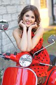 pic of vespa  - Vintage image of young attractive girl and old scooter - JPG