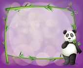 Illustration of an empty frame with a panda on a purple background