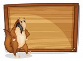 image of ant-eater  - Illustration of a wild animal beside an empty board on a white background - JPG