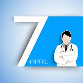 Abstract World health day concept with illustration of doctor and text 7 April..