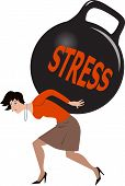 stock photo of kettles  - Depressed woman carrying a heavy load of stress in a form of a huge kettle bell weight - JPG