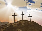 pic of cross hill  - three cross on Calvary hill concept illustration - JPG