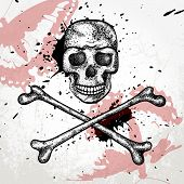 stock photo of head femur  - Hand drawn background with skull and bones - JPG