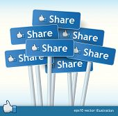 stock photo of follow-up  - 3d vector signposts with the text share on them and a thumb up for liking concept - JPG