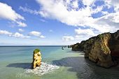 Natural rocks at the southcoast near Lagos in Portugal
