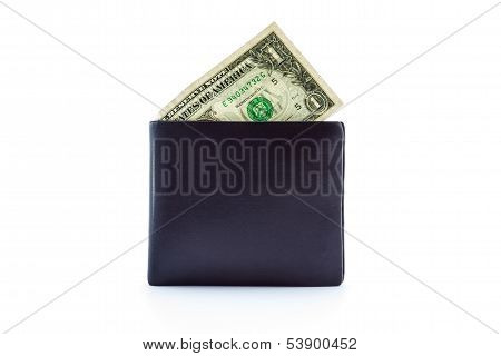 Black Leather Wallet With Money.