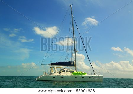 Charter yacht near Caye Caulker in Belize