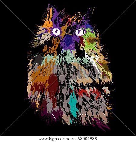 Owl on an black background, hipster symbol, vector illustration. Illustration for t-shirt.