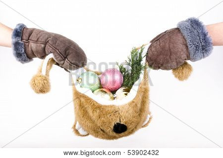 Bear Hat Filled With Christmas Decorations