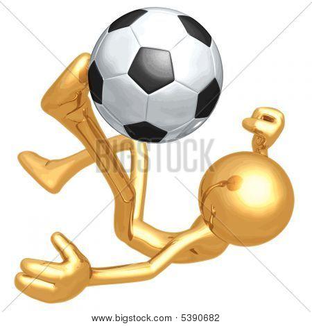 Vector 3D oro chico fútbol fútbol
