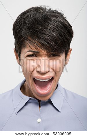 Portrait of woman shouting