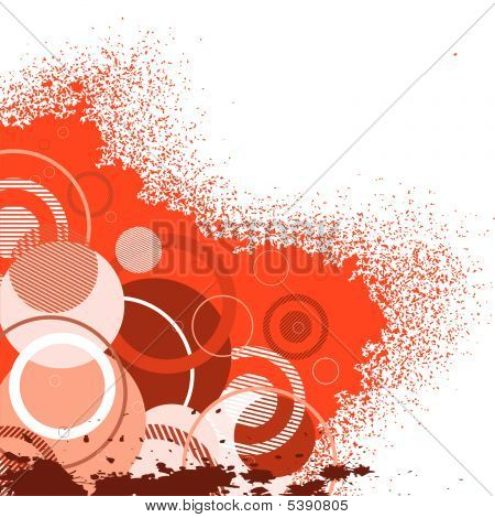 Stylish Red Banner With Circles. Vector Illustration