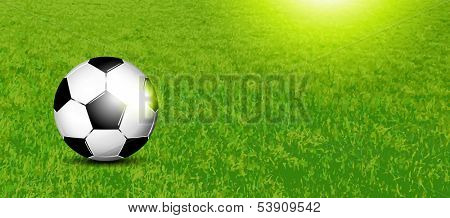Soccer banner - football on grass texture