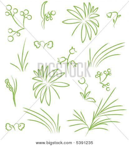 Vector Fower And Leaves Icons