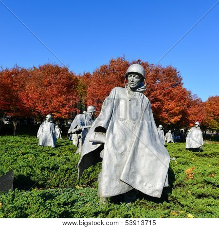 WASHINGTON DC - NOV 03: Korean War Veterans Memorial located in National Mall in Washington DC on NOV 3, 2013.  The Memorial commemorates those who served in the Korean War.