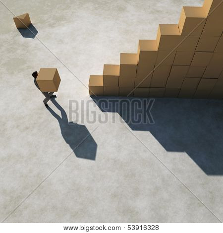 businessman builds a stairs