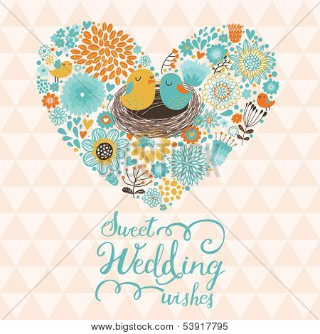 Sweet wedding wishes. Cute Save the Date card in vector. Cartoon birds in love on stylish heart made of flowers