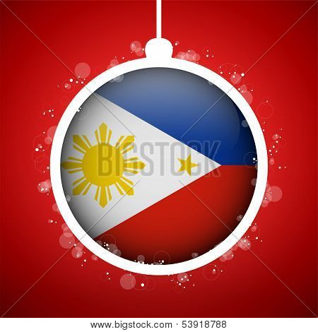 Merry Christmas Red Ball With Flag of Philippines