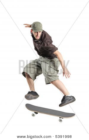 A Skateboarder Jumping