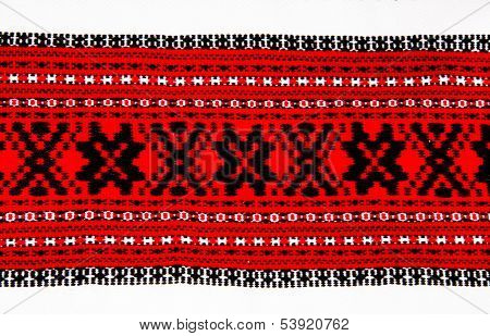 Ukrainian Traditional Red And Black Ornament Embroidery