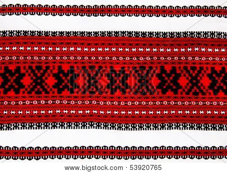 Ukrainian Traditional Red And Black Ornament Embroidery Closeup