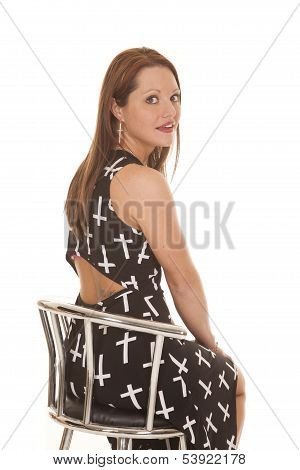 Woman Dress Crosses Sit Back