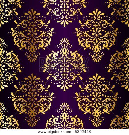Intricate Gold-on-purple Seamless Sari Pattern