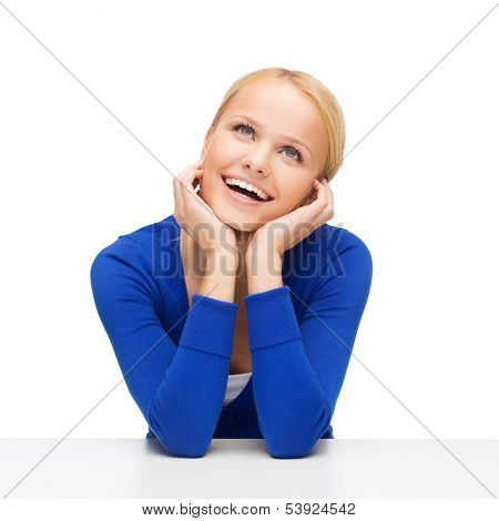 hapiness and people concept - happy smiling young woman dreaming and laughing