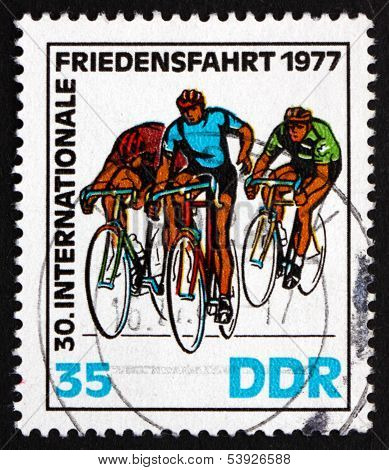 Postage Stamp Gdr 1977 At Finish Line, Bicycling Race