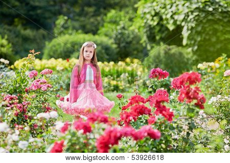 Laughing little girl dressed in pink suit with puffy skirt stand among rosebushes in summer park