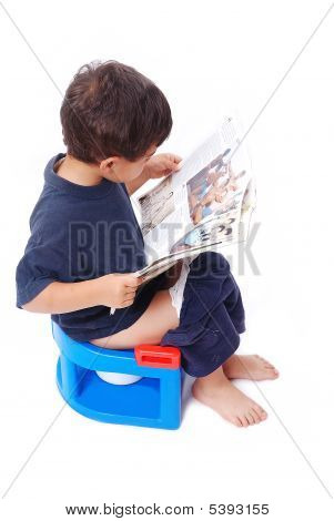 Kid On Little Toilet