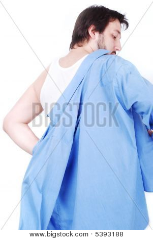 White Man Wearing Blue Shirt