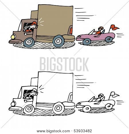 An image of a car tailgating a truck.