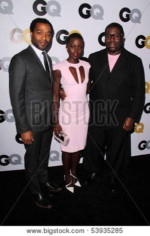 LOS ANGELES - NOV 12:  Chiwetel Ejiofor, Lupita Nyong'o, Steve McQueen at the GQ 2013