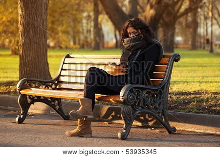 Young Sad Woman Sitting Alone