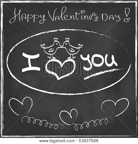 Love Heart Valentines Day Greeting Card Hand Drawn On Black Chalkboard Trendy Style Romantic Relatio