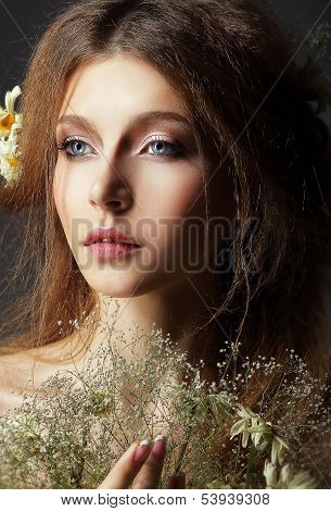 Autumn. Pensive Romantic Brunette With Leafy Withered Herbarium