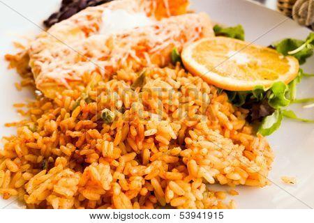 Enchilada with tomato rice, a mexican recipe