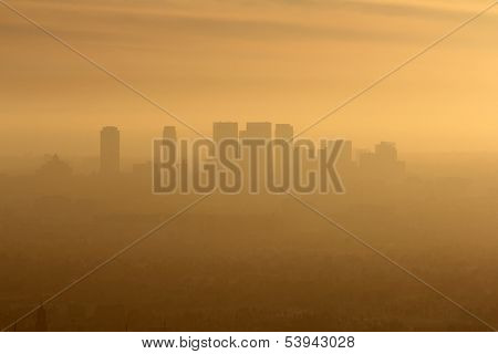 Smoggy foggy afternoon in west Los Angeles, California.