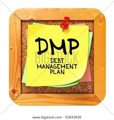 DMP. Yellow Sticker on Bulletin.