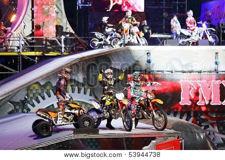 MOSCOW - MAR 02: Welcome of participants motofreestyle on the festival extreme sports Breakthrough 2013 in the arena of the Olympic Sports Complex, on March 02, 2013 in Moscow, Russia.