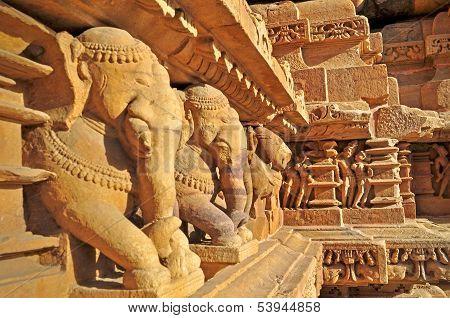 Elephant Sculptures At Vishvanatha Temple, Khajuraho, India - Unesco World Heritage Site.