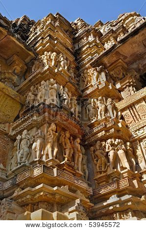 Human Sculptures At Vishvanatha Temple,  Khajuraho, India - Unesco World Heritage Site.